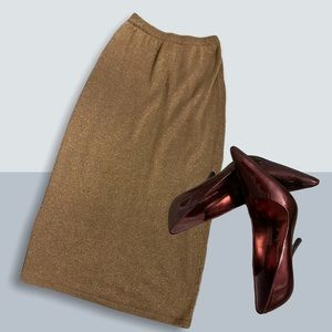 XS Sparkly Gold Pencil Skirt